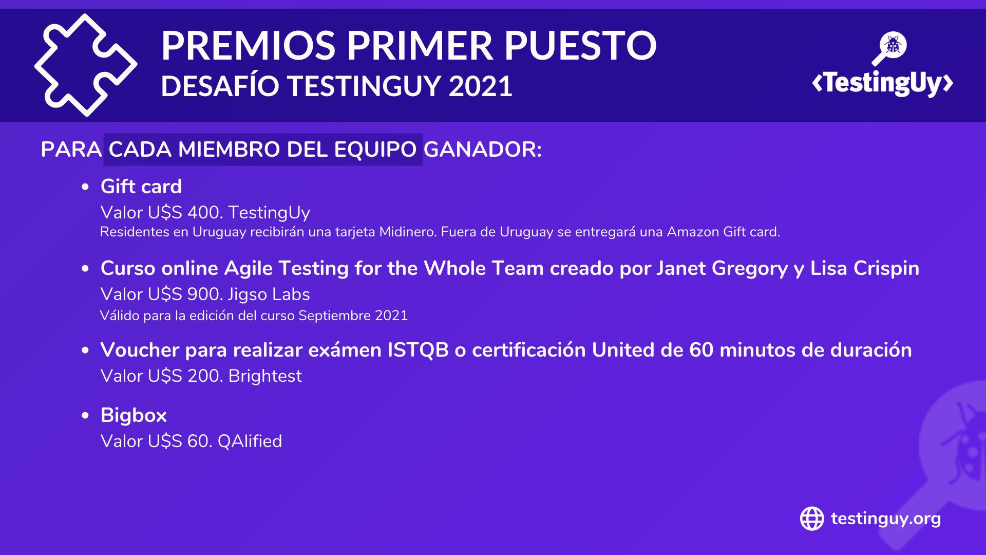 Desafio TestingUy 2021 - Premios Primer puesto